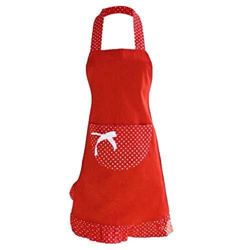 Sallyohno Schürze Mode süße Tee Shop Große Tasche Wasserdicht und öldicht ärmellose Kochschürze (70 x 60cm, Rot)