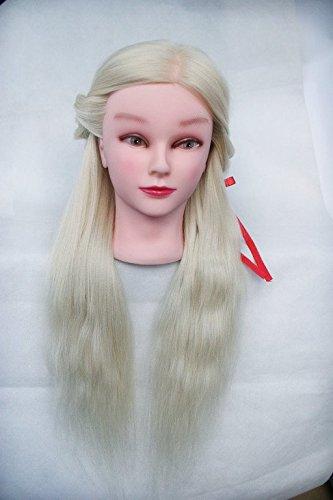 topbeauty Bleach Blonde Cheveux Synthétiques Pratique de coiffure de formation Tête Poupée Mannequin avec pince