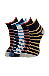 MARC STRIPED DESIGN MENS COTTON ANKLE 5 PAIRS SOCKS PACK