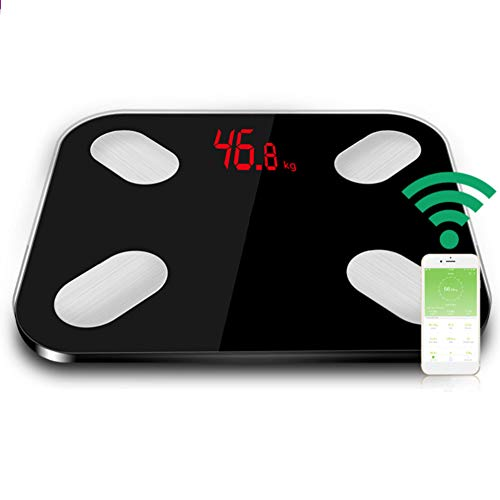 jEZmiSy Digitale Personenwaagen, intelligente elektronische LED-Digitalwaage für das Körpergewicht Bluetooth-Körperfettwaage, Fördern Sie EIN gesundes Leben und halten Sie Sich fit Black