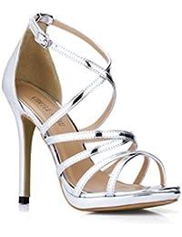 YMFIE Estate rhinestone sexy stiletto moda open toe sandali tacco alto scarpe da donna tacco alto partito, 38...