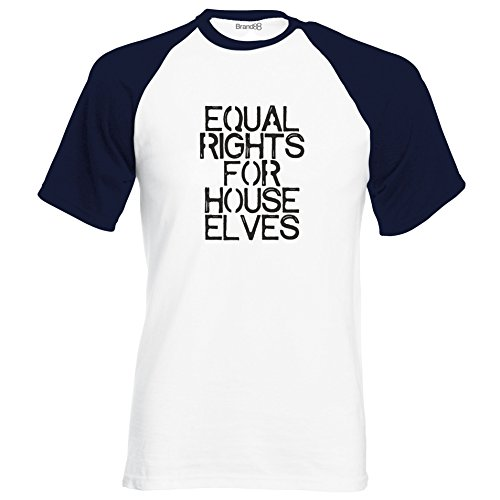 Equal Rights for House Elves, Kurzarm Baseball T-Shirt - Weiss & Dunkelblau S (89-94 cm)