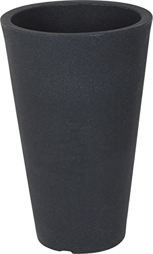 Spetebo XXL Pflanzsäule Anthrazit Konisch - 55x35 cm - Kunststoff Blumenkübel Pflanzkübel Blumentopf groß