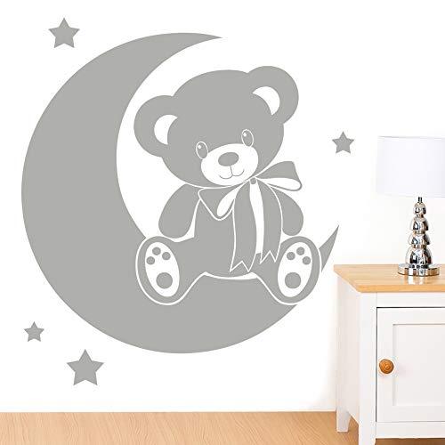 Ours sur la lune avec étoiles sticker mural pour enfant – Art Stickers en vinyle, facile à appliquer, sans applicateur, facile – enlever (Veuillez Choisir votre taille et couleur grâce à la sélection Boîtes) – par Rubybloom Designs, Argent, Large - 86cm x 95cm