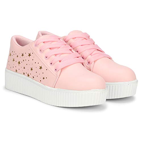 Denill Latest Collection, Comfortable & Fashionable Sneaker Shoes for Women's and Girl's (4 UK/India (37-Euro), Pink)