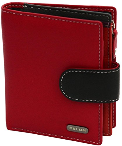 Felda , Leder Damen Geldbörse Portemonnaie Purse Geldbeutel mit RFID Blockierung Multicolor Rot / Schwarz