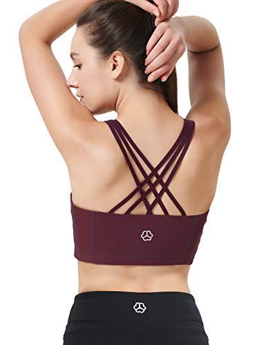 Zeronic Damen Sport-BH mit Reißverschluss vorne, mittelgroß, stoßfest, mit Riemen, für Workout - Rot - X-Small - 4