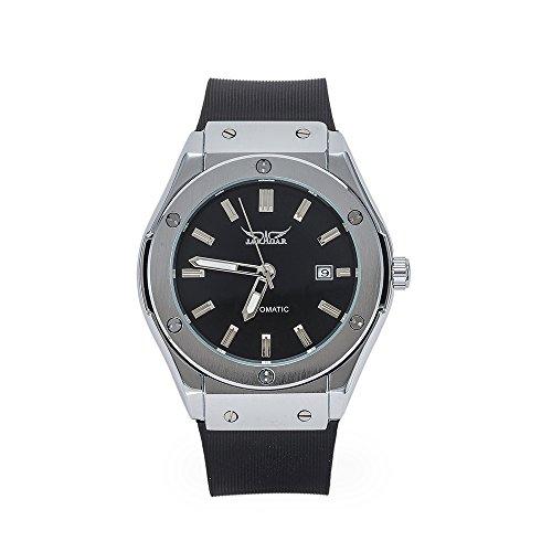 Soao Mechanische Herren Armbanduhr, sportlicher Stil, Automatik, Gummi-Armband, Edelstahl-Zifferblatt mit Datumsanzeige