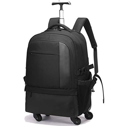 trolley rucksack,Polyester Waterproof Multifunction Wheeled Laptop Luggage Case Bag Rucksack with 4 Wheels,for Casual Travel School College Wheeled Daypack-black -