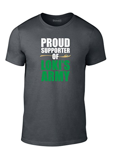Proud Supporter of Loki's Army, Erwachsene Mode T-Shirt, Holzkohle Grau/Weiß/Transfer, L - 104-109cm