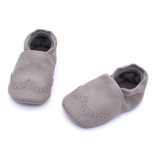 Baby Schuhe Kinderschuhe Mädchen Anti-Rutsch Weiches Solekleinkind für 0-18 Monate Grau