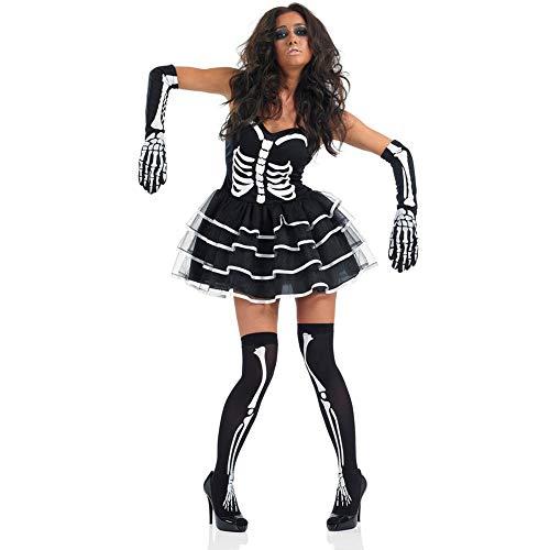 GAOJUAN Nuovo Costume Cosplay Di Halloween Costume Cosplay Adulto Coppia Un Uniforme Da Zombie Skeleton Connected Costume Costumi Da Diavolo Adatto Per Feste A Tema Carnevali,Style1,L