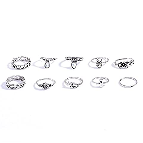idealway 10Pcs/set Fashion Vintage Rhinestone Hollow Out Knuckle Nail Midi Ring Set jewelry (silver)