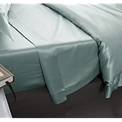 Jasmine seda 100% Mulberry 19MM Charmeuse de seda sábana de (color azul), seda sintética, crema, KING/SUPERKING 290cm x 275cm