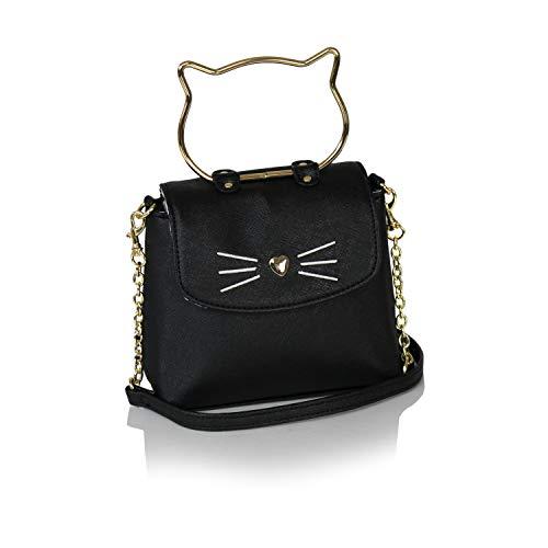 Ellie 's Tribe Chic Kitty Crossbody Bag aus veganem Leder Geldbörse Top Griff Klein Cute Hipster Cat Design One Size Schwarz