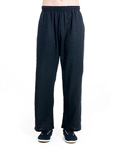 icnbuys Pantaloni Tai Chi in cotone e lino, Uomo, Black,