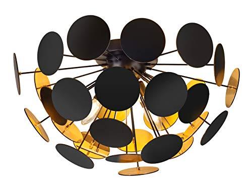 Ausgefallene Deckenleuchte mit einem Lampenschirm in Schwarz matt/Goldfarben Ø 54cm mit 3x E14 LED...