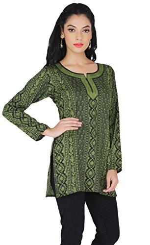 India da donna in stile Kurti laukaa indiana vestimento Verde 2