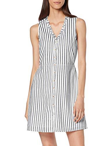 VERO MODA Damen Vmcoco Stripy Sl Short Dress WVN Kleid, Mehrfarbig (Snow White Stripes: Night Sky), Small (Herstellergröße: S)