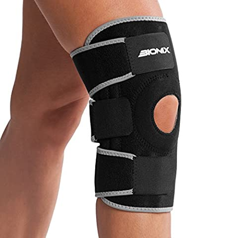Bionix Knee Brace Open Patella Neoprene Breathable Knee Support Stabilizer Braces 3 Way Adjustable Strap Knee Support For Running Ligament Repair Arthritic Support NHS Medical Grade Knee Wrap Support Brace ONE SIZE FITS ALL