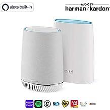 NETGEAR Orbi WiFi Mesh ultra potente con Alexa, 1 router e 1 ripetitore speaker Harmon Kardon, fino a 300 mq (RBK50V)