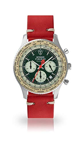 DETOMASO Firenze Mens Watch Chronograph Analogue Quartz Dark red Vintage Leather Strap Green dial DT1069-B-783