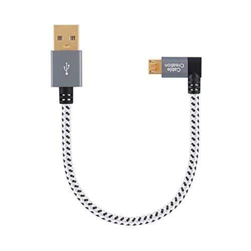 CableCreation 0.5ft Breve Angolo Sinistro Micro USB 2.0 Cavo Intrecciato, 90 Gradi Verticale Left Short USB 2.0 da Maschio a Micro USB Maschio con Custodia in Alluminio, 15cm, Spazio Grigio