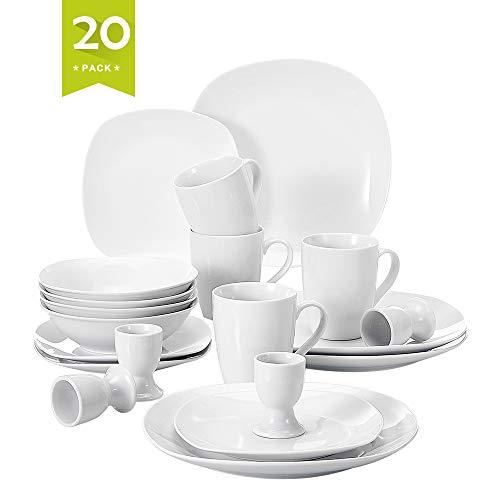 MALACASA, Série Elisa, 20pcs Services de Table Porcelaine, 4 Assiettes Plates, 4 Assiettes à Dessert, 4 Bol à Céréales, 4 Coquetier, 4 Mugs pour 4 Personnes