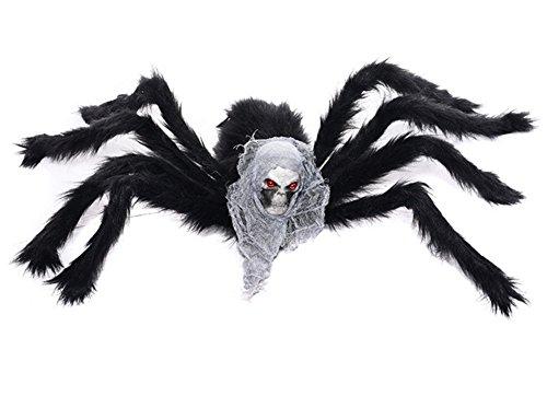 Schwarze Spinne für Halloween, Autbye 2017 Neue Art-große Schädel-Spinne (75cm / 29.5