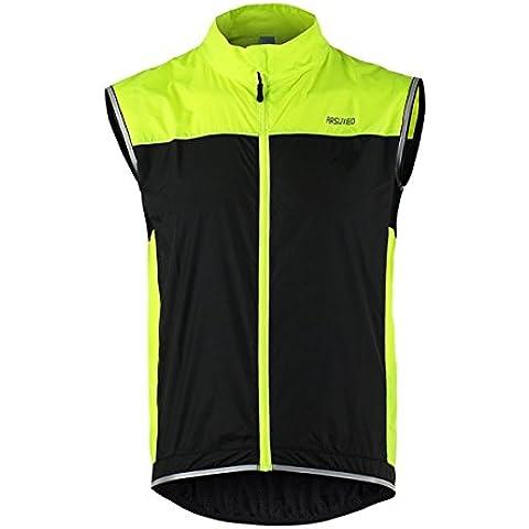 ARSUXEO ciclismo sin mangas de la chaqueta chaleco chaleco cortaviento ultraligero transpirable para correr - verde
