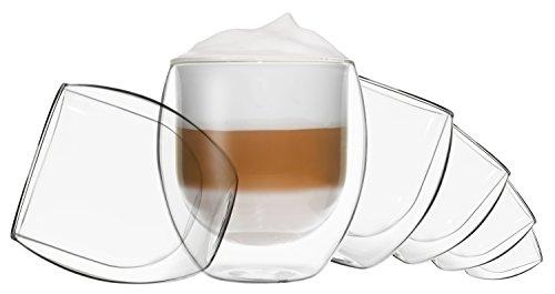 DUOS 6X 410ml Jumbo doppelwandige Gläser, Cappuchinogläser, Thermogläser - Set mit Schwebe-Effekt, auch für Latte Macchiato, Tee, Cocktails, EIS, Säfte, Desserts UVM. geeignet, by Feelino ...