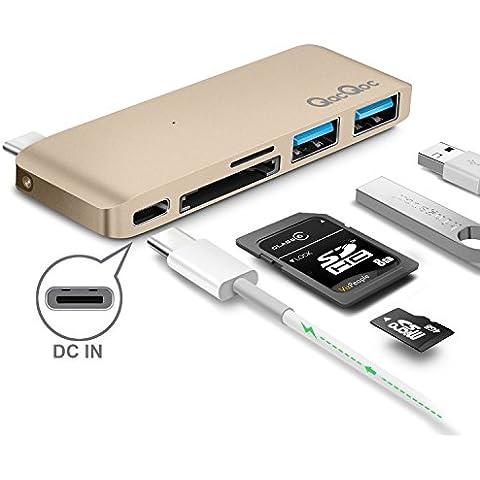 Premio Hub tipo C-Hub con Power Delivery 2 Alta velocità Porto USB 3,0, 1 scheda SD da porto di memoria, 1 micro SD, lettore di schede di memoria, USB per Apple MacBook da 12 pollici in lega di alluminio da costruzione, calcare