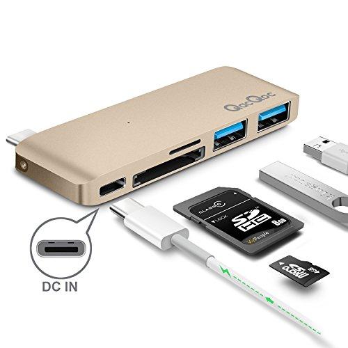 Bqeel Premium USB-C Hub mit 2 USB 3.0, 2 SD Port und 1 USB-C Port ultra leicht / mobil für Type C Computer und Tablets wie MacBook Pro 2016, MacBook 2015/2016, Google Chromebook 2016 (Gold)