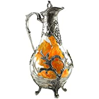 Bottle Decanter in Glass and Pewter Liberty for Water and Wine Made in Italy CAVAGNINI Handmade Italian-style Quality