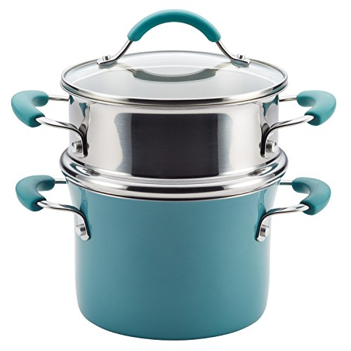 Rachael Ray Cucina Hard Porcelain Enamel Nonstick Multi-Pot / Steamer Set, 3-Quart, Agave Blue
