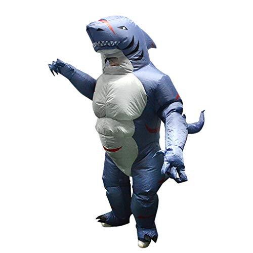 Haifisch Aufblasbare Kostüm - SM SunniMix Karikatur Haifisch Aufblasbares Kostüm Fattsuit Luft Anzug Cospaly Kostüm inkl. Fan und Akku Fach