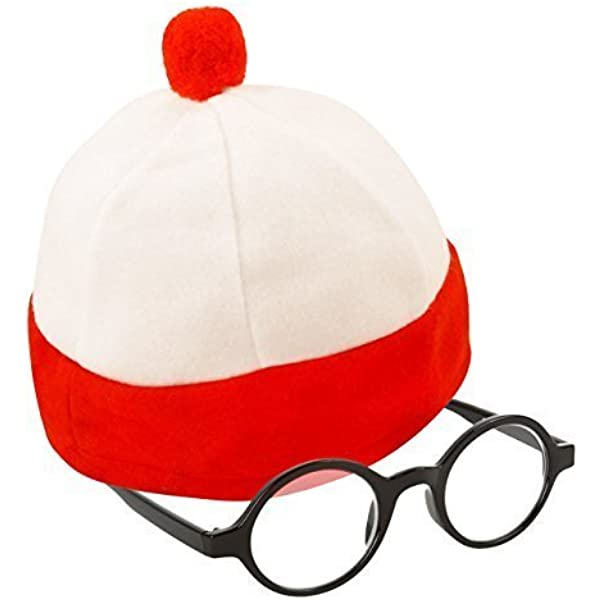 WHITE AND RED BOBBLE HAT ADULT WORLD BOOK DAY FANCY DRESS COSTUME ACCESSORY