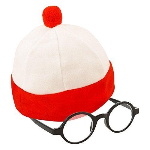 Kinder Klein Rot & weiß Gestreift Kostüm Hut & Gläser (WELT BUCH WOCHENTAG) (Brille Und Waldo Hut)