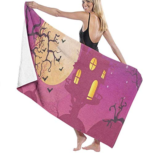 xcvgcxcvasda Serviette de bain, Halloween Moon Party Personalized Custom Women Men Quick Dry Lightweight Beach & Bath Blanket Great for Beach Trips, Pool, Swimming and Camping 31