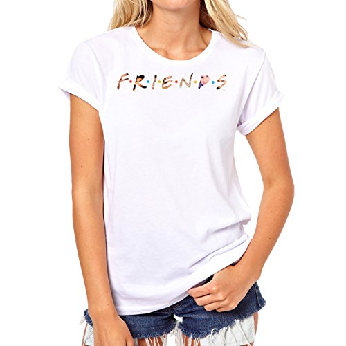 Friends Cropped Logo With Team Background Damen T-Shirt Weiß