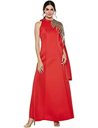 Red extended single sleeve embroidered dress