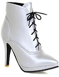 AgooLar Damen PU Hoher Absatz Spitz Zehe Stiefel, Weiß, 32