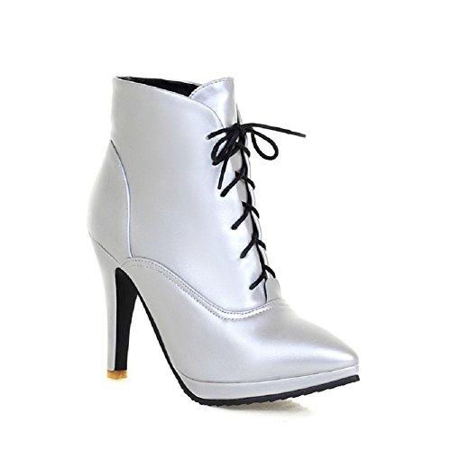 AalarDom Damen PU Leder Knöchel Hohe Rein Ziehen auf Stiletto Stiefel, Rot, 36