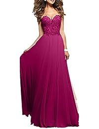 Charmant Damen Rosa Spitze Chiffon Promkleider Abschlussballkleider Abendkleider  Lang… 87d9ba8cba