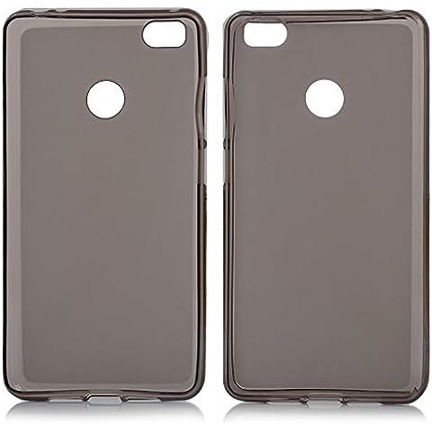 tinxi® Funda de silicona para Xiaomi Mi4S 5.0 pulgadas Caso de silicona TPU caso de la cubierta de la contraportada de silicona protectora caso bolsa transparente y negro fondo