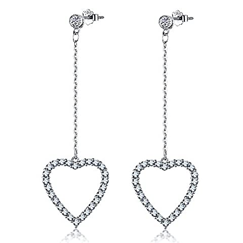 Viyino 925 Sterling Silver Cubic Zirconia Heart-shaped Stud Earrings (White)