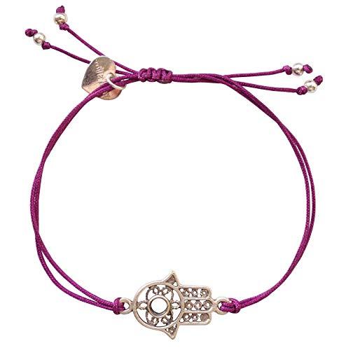 Damen-Armband Hand der Fatima-Damen-Schmuck - lila/Silber - Chakra Glücksarmband TS31 ()