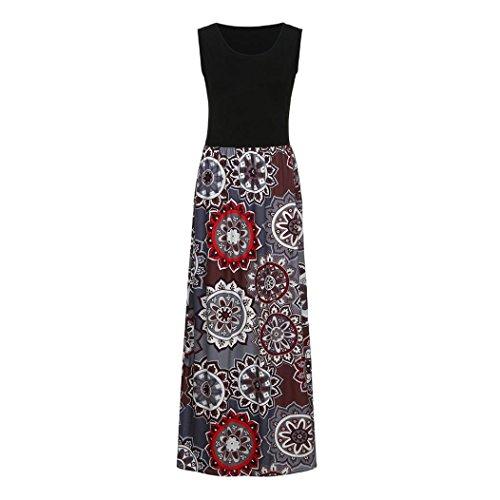 Honestyi Frauen drucken Tank Maxi Kleid Tasche ärmellos lässig Sommer langes MaxiKleid Ärmelloses Damen mit Panel Print Printfarbe für Damen (L, Kaffee) -