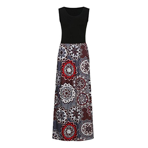 Honestyi Damen Maxikleider Sommerkleider vintage Boho Blumen Kleid Neckholder Printkleider...