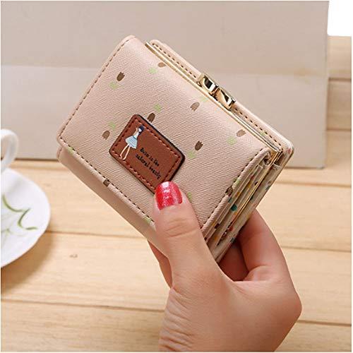Dame Kurze Münztüte Frauen Geldbörse Kawaii Mädchen Kleingeld Brieftaschen Münztüte 3 Falten Pu-Leder Geldbörse 10,5 * 8 * 3,5 cm D Beige